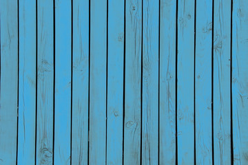 Wooden boards, knocked together, painted blue, wooden texture fence