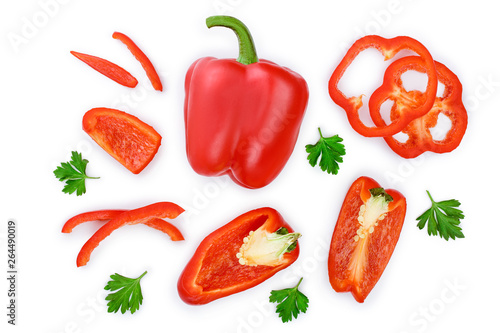 Papel de parede red sweet bell pepper isolated on white background