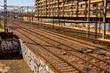 Valencia, Spain - January 12, 2019: Empty train tracks in the North station of Valencia.