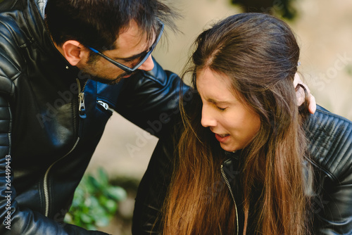 Cuadros en Lienzo  Couple arguing with aggressive boyfriend threatening his wife, concept of male abuse