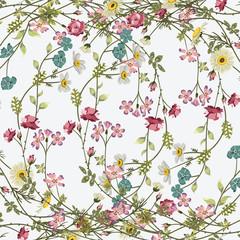 Panel Szklany Podświetlane Do przedpokoju Fashionable pattern in small flowers. Floral background for textiles.