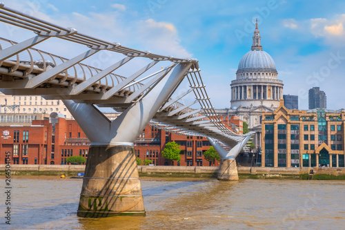 London, UK - May 23 2018: View of St Paul's Cathedral with people crossing the M Canvas Print