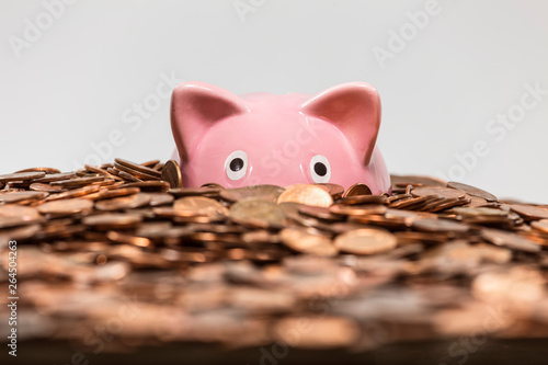Fotografía  Pink piggy bank drowning in ocean of copper pennies.