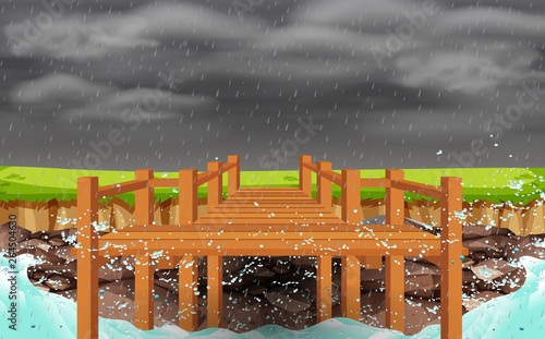 boardwalk at rock beach in rain Canvas Print