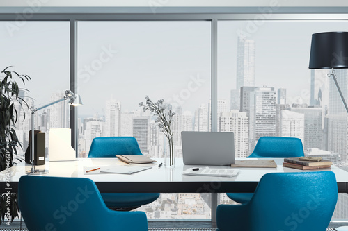 Modern conference room interior with big window, blue armchairs. 3d rendering.