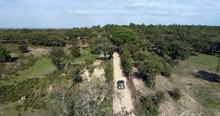 4x4 Off Road Adventure Trip With Many Brands Of Jeeps In Dusty Forest Drone Shots