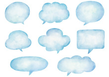 Watercolor Speech Bubbles Set.