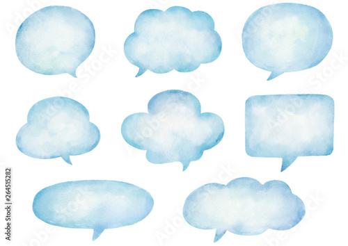 Watercolor speech bubbles set.