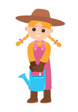 Girl Carrying A Watering Can, ...