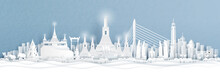 Panorama View Of Of Bangkok, Thailand With City Skyline And World Famous Landmarks In Paper Cut Style Vector Illustration