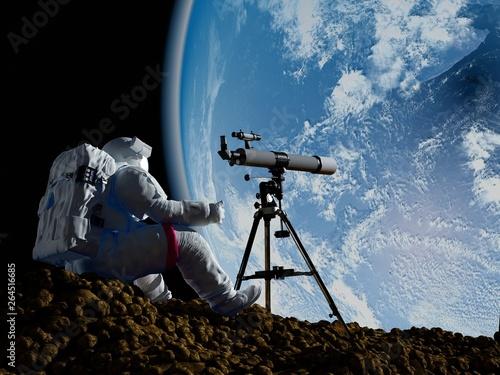 Telescope in space. Fototapeta