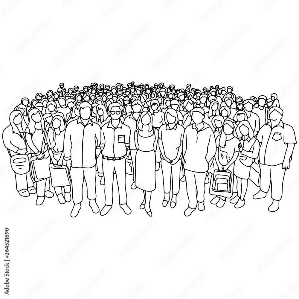 Fototapeta group of people old and young with different social status vector illustration sketch doodle hand drawn with black lines isolated on white background