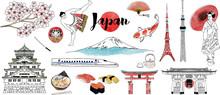 Hand Drawn Japan Illustration Set.