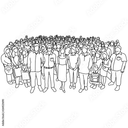 Fototapeta group of people old and young with different social status vector illustration sketch doodle hand drawn with black lines isolated on white background obraz