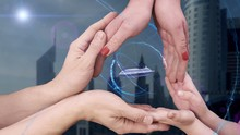 Men's, Women's And Children's Hands Show A Hologram 3d Cruise Liner. The Family Holds A Magical Inscription On The Background Of A Modern City