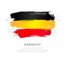 German Flag. Vector Illustration On White Background. Brush Strokes