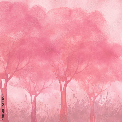 Photo Stands Candy pink Watercolor landscape. pink trees, bushes, field, wild grass.Watercolor group of trees - willow, sakura, aspen,cherry, apple. The silhouette of the forest, sun,sunset, sunrise. Summer, spring, autumn.