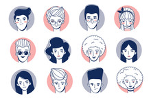 Set Of Portraits Of Avatars Of Young Women And Men. Retro Style.