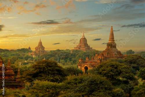 View of buddhist temple,stupa,in the historical park of Bagan,Myanmar Wallpaper Mural