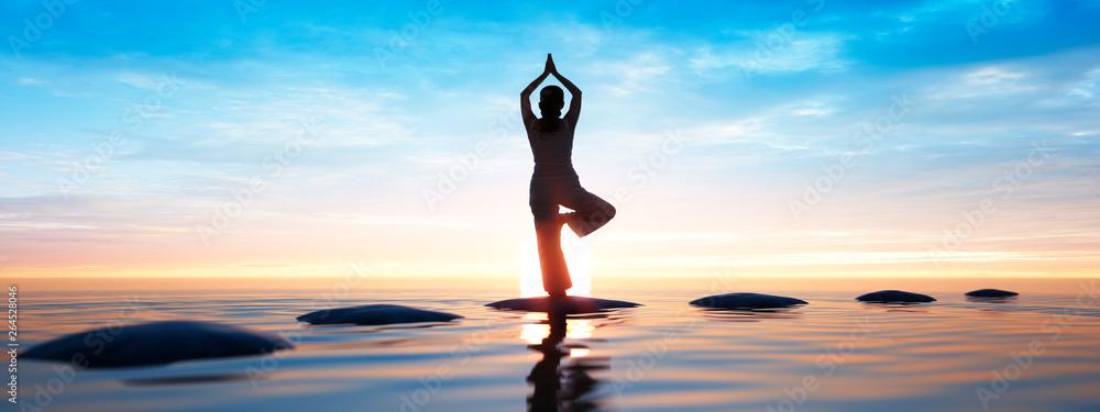 Fototapeta Yoga am Meer - Sonnengruß