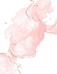 Dynamic fluid pink art with watercolor splashes wnd golden glitter strokes. Glamour wedding decoration. Tender rose gold presentation background