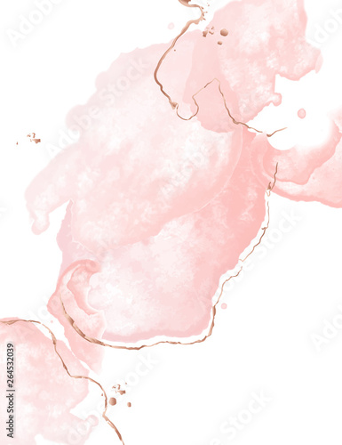 Photo Dynamic fluid pink art with watercolor splashes wnd golden glitter strokes