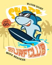 Shark Cartoon On Surfboard