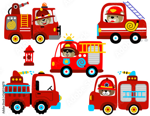 vector set of fire engine cartoon with funny driver Poster Mural XXL