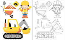 Happy Worker Cartoon With Digger Vehicle And Construction Element,coloring Book Or Page
