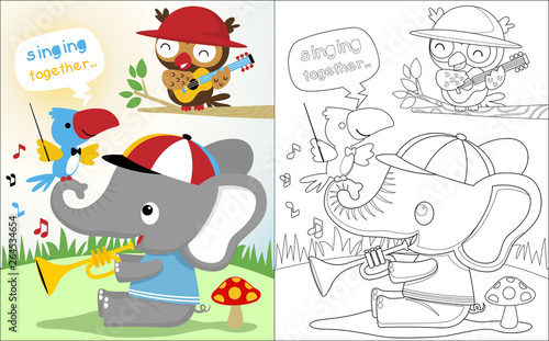 Cute animals cartoon playing music in jungle, coloring book or page ...