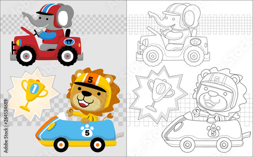 Garden Poster Cartoon cars Vector cartoon of elephant and lion in a car racing, coloring book or page