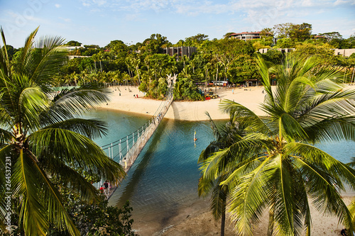 Tablou Canvas View of the park and the suspension bridge of the island of Sentosa