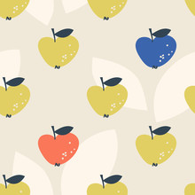 Seamless Pattern With Stylized Apples In Scandinavian Style
