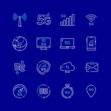 5G Wireless Network Future Technology Color Icons
