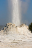 Castle faithful Geyser in old faithful Basin in Yellowstone National Park in Wyoming