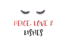 Pair Of Long False Lashes Over The White Background.