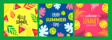 Set Of Different Summer Poster Or Template Design With Summer Fruits And Leaves Illustration.