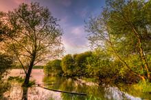 Loire-Atlantique (44), Lac De Grand Lieu, Tréjet, Coucher De Soleil Sur Le Lac De Grand Lieu Avec Une Barque Coulée