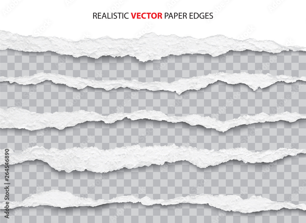 Fototapety, obrazy: realistic torn paper edges vector