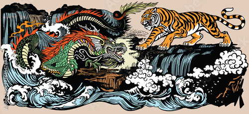 Fototapeta Green Chinese East Asian dragon versus tiger in the landscape with waterfall and water waves