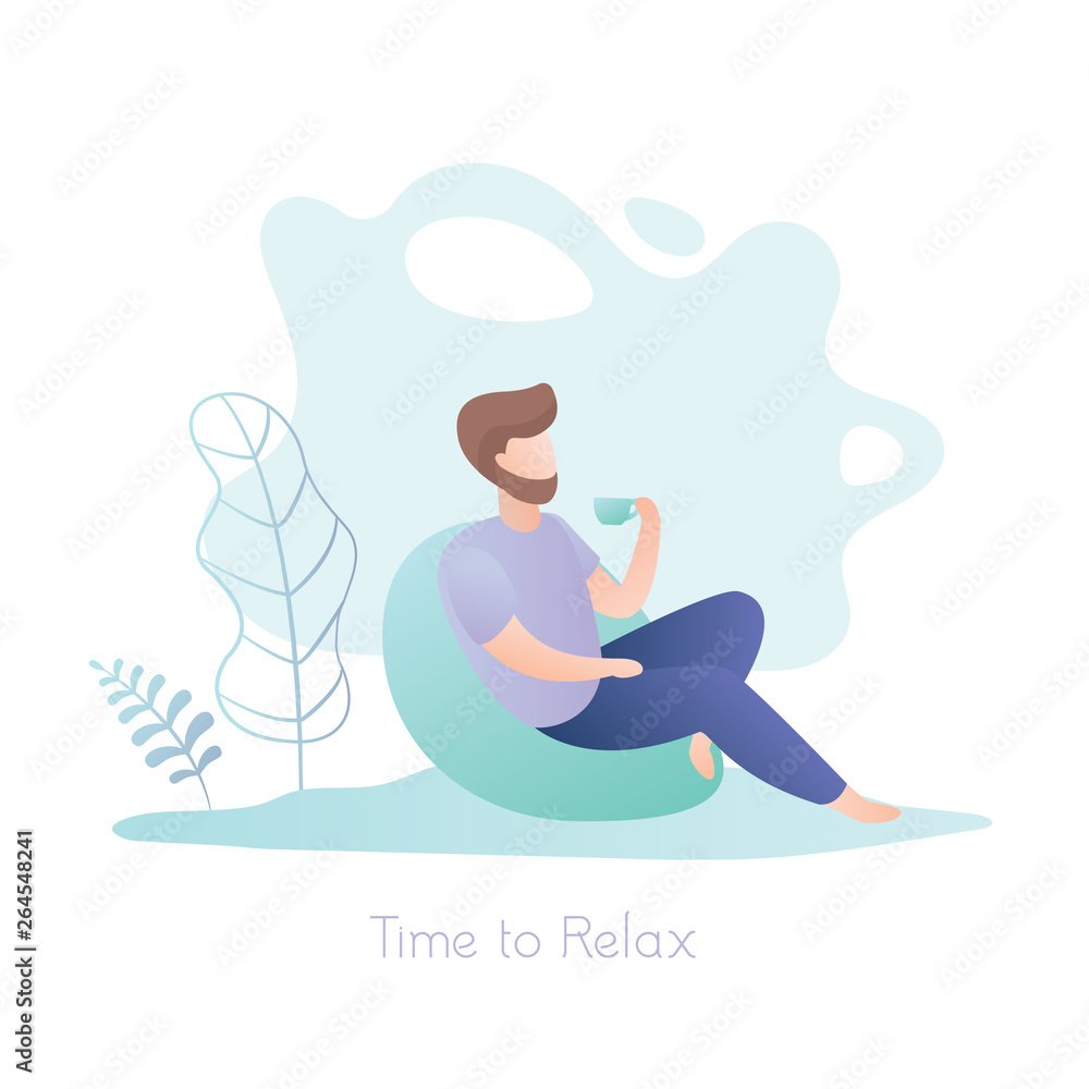 Fototapeta Male hipster with a cup sitting in a chair, relax time