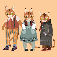 Three Cats Wearing Vintage Clo...