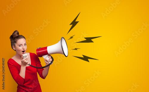 Fényképezés Person shouting lighting bolts with megaphone