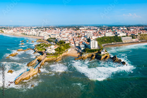 Biarritz aerial panoramic view, France