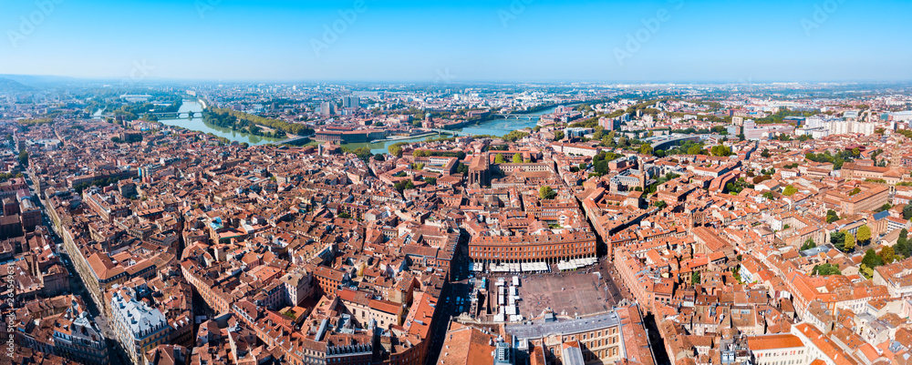 Fototapety, obrazy: Toulouse aerial panoramic view, France