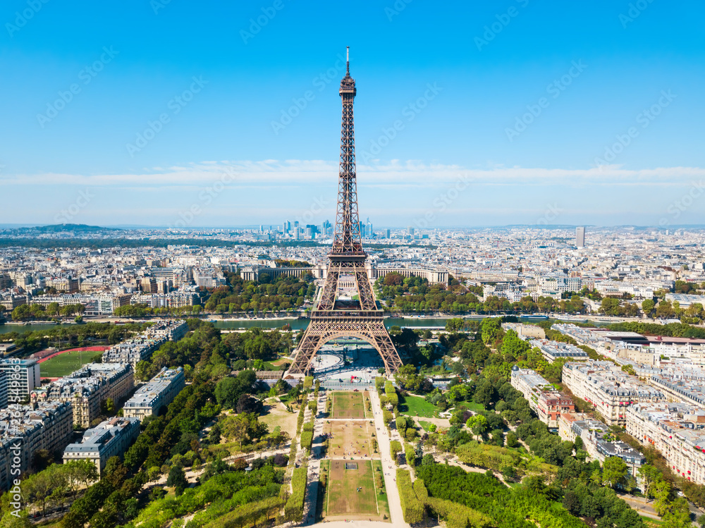 Fototapeta Eiffel Tower aerial view, Paris