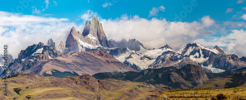 Panorama with Fitz Roy mountain at Los Glaciares National Park