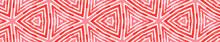 Pink Red Seamless Border Scroll. Geometric Waterco