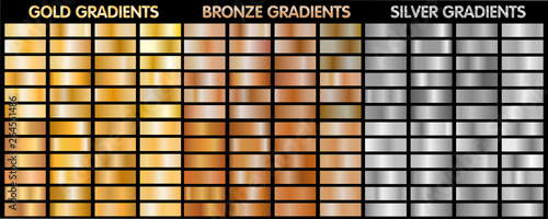 Gold, silver, bronze metalic gradients Fototapet