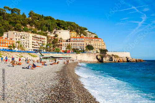 Wall Murals Nice Plage Blue Beach in Nice, France